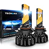 TECHMAX 9012 LED Bulb, HIR2 CREE Chips 6500K Xenon White Extremely Bright Conversion Kit of 2 Halogen Replacement with Cooling Fans Low Fog Light