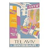 ASFGH Tel Aviv Vintage-Reiseposter, Dekor, Malerei, Poster,