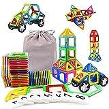 KIDCHEER Construcciones Magneticas Niños con Ruedas 48 Piezas Bloques de Construccion Magneticos Juegos Educativos Niños con Bolsa de Almacenamiento Niños y Niñas de 3 4 5 6 7 8 9 Años