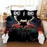 Probuk Ropa de cama DC Batman Flash Superman Anime 100% microfibra funda nórdica niños Teen Joven Chica Juego de cama con funda de almohada (A-09,150 x 200 cm (50 x 75 cm)