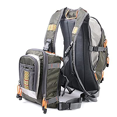 BearHoHo DUO Fishing Vest Multi-pocket Fishing Clothing Horse Clip Fly Fishing Chest bag Vest Multi-function Backpack by BearHoHo