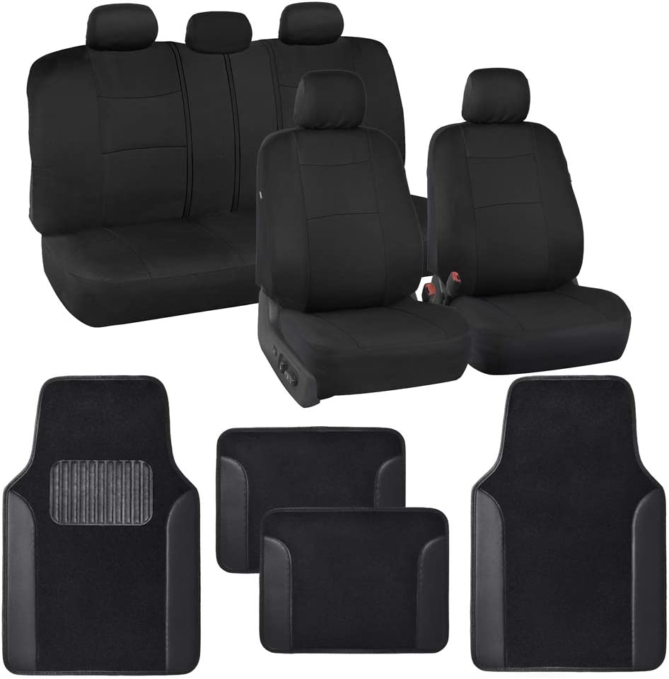 BDK Combo Car Seat Covers (2 Front 1 Bench) Auto Carpet Floor Mats (4 Set) with Heavy Protection Sleek Graphic Two Tone Fresh Design All Protective - Black Accent