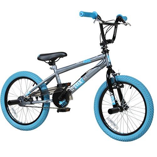 deTOX 18 Zoll BMX Freestyle Kinder BMX Anfänger ab 120 cm, 6 J, Farbe:grau/blau