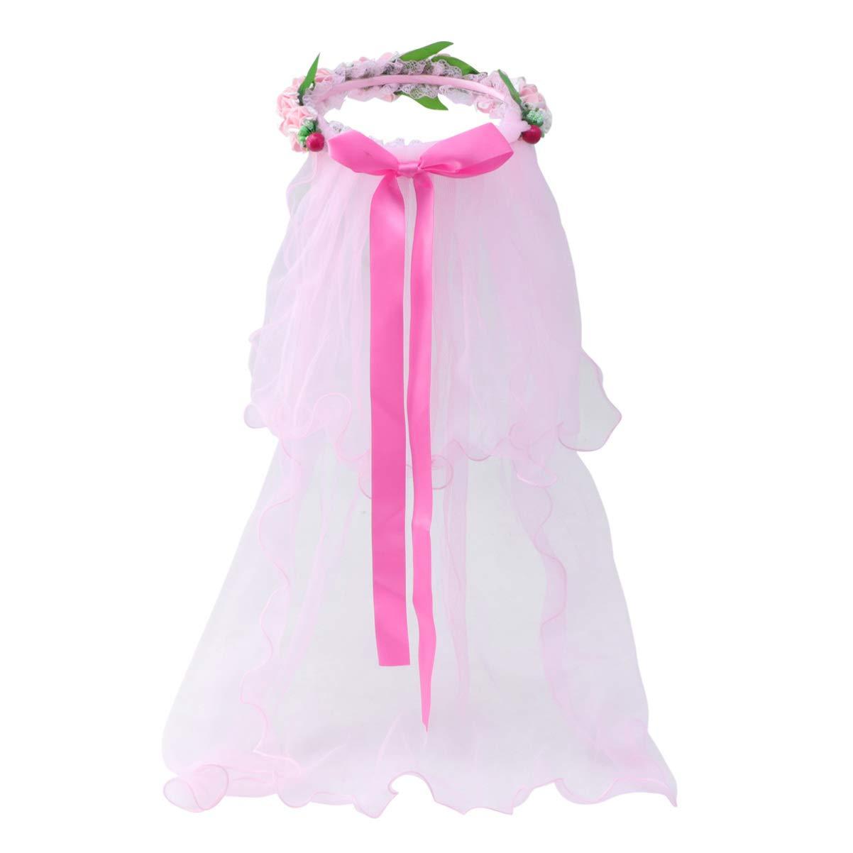 Beaupretty Girls Flower Crown Headpiece First Communion Wreath Tiaras Veil Garland Gauze Headdress For Kids Children (Pink)