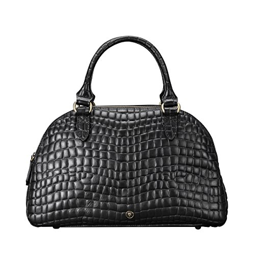 Maxwell-Scott Damen Krokodil Optik Leder Bowling Bag Handtasche LilianaS in Schwarz Croco