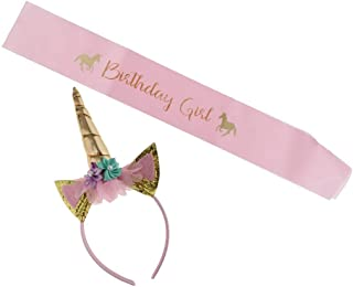 Distinguished Elegant Pack of 2 Unicorn Headband and Birthday Girl Satin Sash Set - Pink, as described,Size:as described,C...