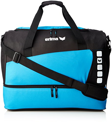 Best Review Of Erima Unisex's Spacious Sports Bag with Bottom Compartment-Curacao/Black, Medium
