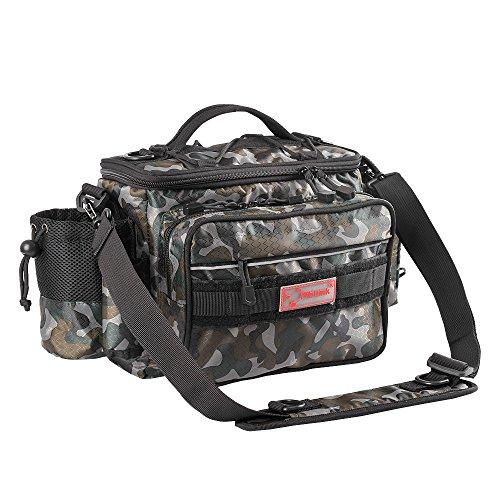 Fiblink Waterproof Outdoor Multifunctional Fishing Tackle Bag Shoulder Bag and Handbag or Waist Bag Fishing Gear Storage for Fishing Hiking Climbing (Woodland Camouflage)