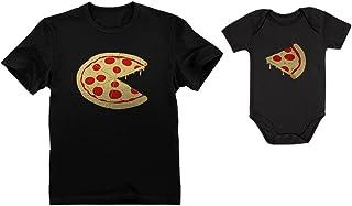 Pizza Pie & Slice Baby Bodysuit & Men's T-Shirt Matching Set Dad & Baby Set