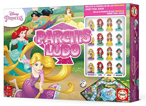 Educa Borrás- Parchís Ludo Princesas Disney, con figuras 3D de los personajes, a partir de los 4 años (18344) , color/modelo surtido