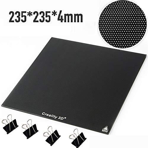 Creality 3D Drucker Plattform 3D Druckbettband Beheiztes Glasplattform platte 235 x 235 mm mit mikroporöser Beschichtung für Ender-3 / Ender-3 Pro/Ender-3S/Ender-3X (235x235mm)