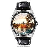 Reloj de Pulsera analógico de Cuarzo para Piscina, diseño de Palmas solares, Esfera Plateada, Correa de Piel clásica, para Hombre y Mujer