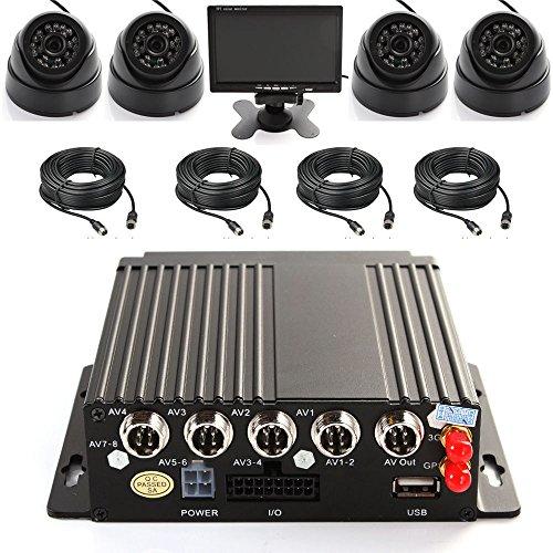 Wen&Cheng Enregistreur vidéo / audio en temps réel 4 canaux AHD DVR 3G GPS avec télécommande + 4 caméras dôme LED IR + 4 câbles + écran couleur TFT LCD 7\