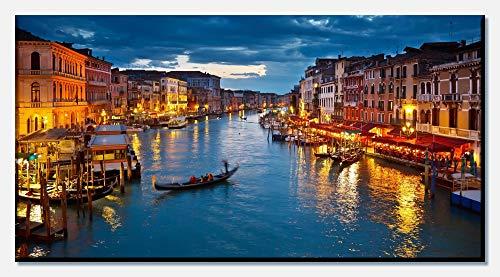 wandmotiv24 Cuadro en Lienzo Canale Grande Venecia 100x50cm (Ancho x Alto) Foto panorámica Foto Lienzo Mural Foto Regalos M0252