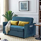 kupet Convertible Sleeper Sofa Bed Velvet Fabric Pull Out Couch with 2 Pillows, Adjustable Backrest for Living Room Small Spaces, Blue
