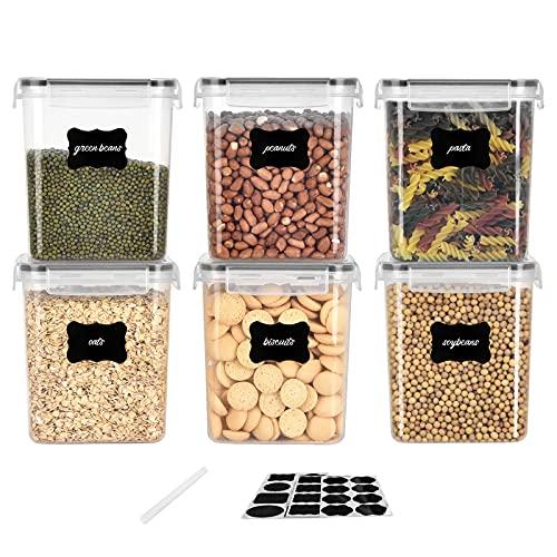 VIVILINEN Botes Cocina, Juego de 6 Piezas de Recipiente de Botes Cocina Almacenaje de Plástico de Alimentos Sellados con Tapa, Se Utiliza para Almacenar Cereales Pasta Arroz Harina (Negro, 1.6Lx6)