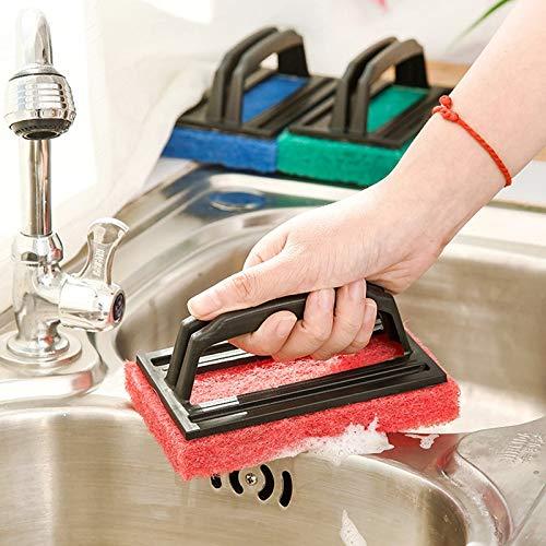 Black Kitchen Cleaning Tools 2 PCS Nano-Ceramic Sponge with Handle Kitchen Decontamination Cleaning Brush Pot Brush Color : Black