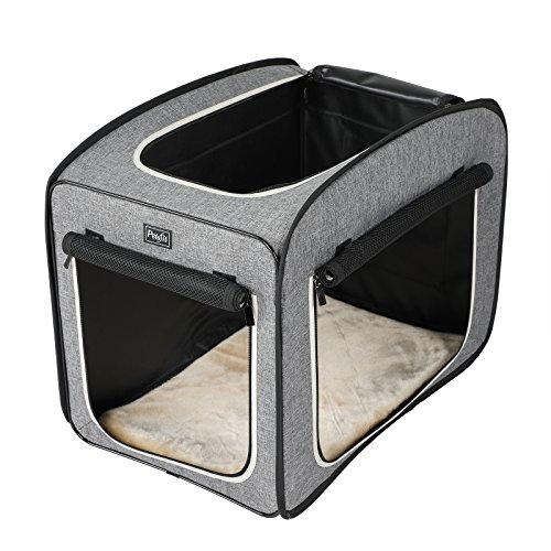 Petsfit Leichtes Stoff Haustierbett, Pop-Up Offene Haustiertrage, Weiche Hundehütte mit Fleece-Matte, Katzen Spielwürfel, 78 x 50 x 63cm(Groß)