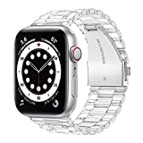 HoneyAKE Compatible with Apple Watch Bands 38mm 40mm 42mm 44mm iWatch SE Series 6 5 4 3 2 1 for Women Men, Transparent Crystal Clear Protective Bumper Sport Watch Band Replacement Strap,Clear 38/40mm