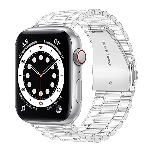 HoneyAKE Compatible with Apple Watch Bands 38mm 40mm 42mm 44mm iWatch SE Series 6 5 4 3 2 1 for Women Men, Transparent Crystal Clear Protective Bumper Sport Watch Band Replacement Strap,Clear 42/44mm