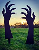 Ironic Art Halloween Scary Zombie Hands Metal Yard Art | Halloween Yard Stakes, Groundbreakers for Halloween Yard Decorations (Set of 2)