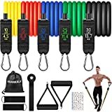 VANWALK Resistance Bands Set 11 PCS Gym Equipment Workout Bands for Home with Handles Ankle Straps Carry Bag...