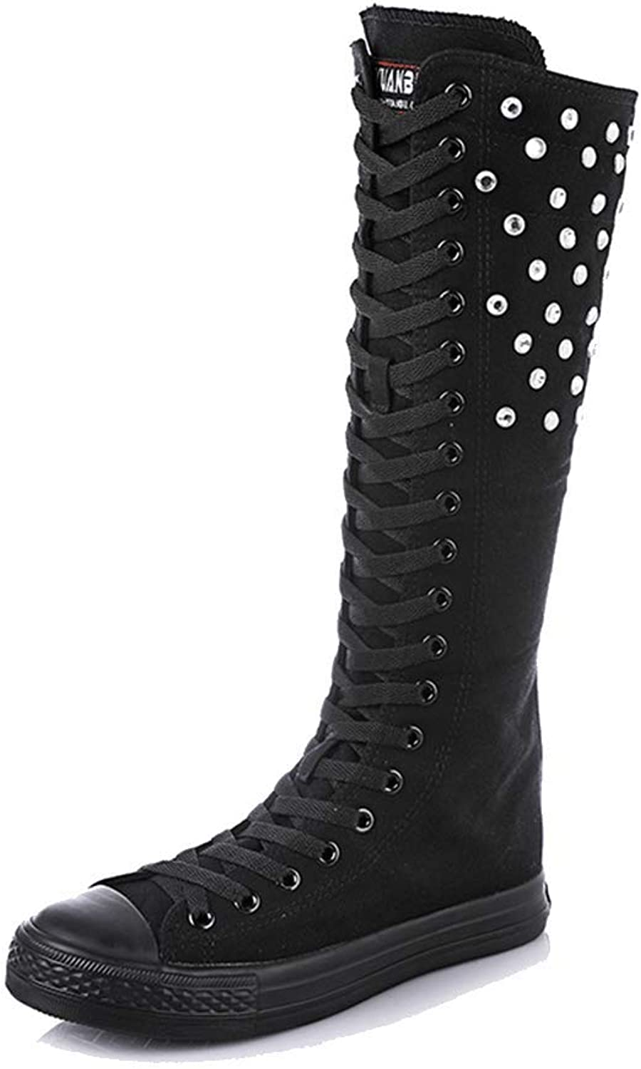 LIURUIJIA Women Knee High Lace-up Canvas Boots Pure Zip Dance Boots DX5-5570-01