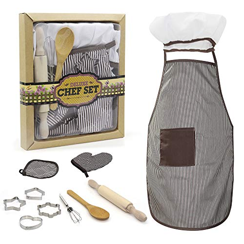 TOPZONE Kids Apron Set for Boys-Complete Children's Chef Set Baking Set with Chef's Apron, Cooking Mitt & Utensils – Recommended for Boys & Girls Ages 3+