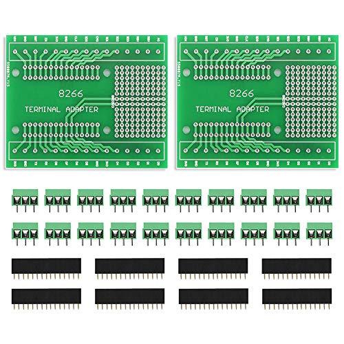 KeeYees 2 Piezas Kits de Placa de Expansión GPIO 1 en 2 PCB Tarjeta para ESP8266 ESP-12E para NodeMCU Placa de Desarrollo WiFi CP2102