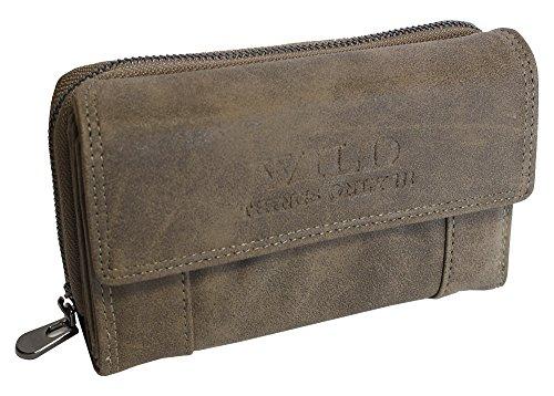 Mittel-Große Damen Geldbörse Portemonnaie mit Münzfach Kreditkartenfächer Ausweisfächer Fotofächer Brieftasche für Frauen XL (Braun)