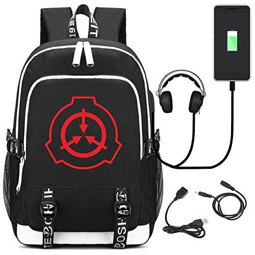 LJHSS Mochila para Ordenador portátil, Anime Cosplay Mochila Escolar, Fundación SCP Mochilas Escolares, con Puerto de Carga USB y línea de Audio, para Estudiantes Cool Unisex (Color : Black)