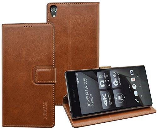 Suncase Book-Style (Slim-Fit) für Sony Xperia Z5 Premium Ledertasche Leder Tasche Handytasche Schutzhülle Hülle Hülle (mit Standfunktion & Kartenfach) cognac