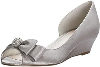 David's Bridal Bow-Embellished Satin D Orsay Wedges Style Rebecka