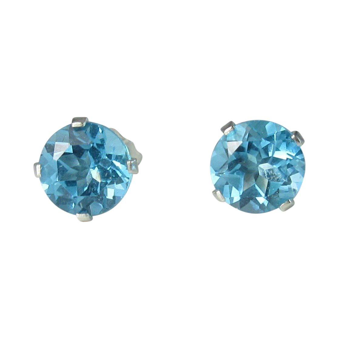 Swiss Blue Topaz Gemstone Columbus Mall 6mm Branded goods Earrings Sterling Studs Silver