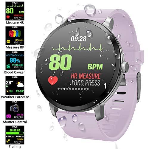 Padgene Pulsera Actividad Reloj Inteligente SmartWatch Deportivo IP67 Bluetooth con Pulsómetro Monitor de Sueño, Música, Cámara Remota, Notificación de Llamada Mensaje para Android e iOS (Púrpura)