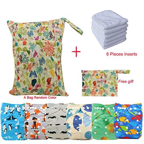 Ohbabyka réutilisables Poche en tissu avec couches pour bébé Unisexe tout en un avec 1pièce Chiffon doux Intérieur