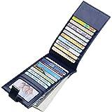 JEEBURYEE カードケース 長財布 財布 メンズ レディース カード入れ 薄型 磁気防止 大容量 カード19枚 収納 本革 革 人気 二つ折り 小銭入れ 男女兼用 RFID識別 オイルレザー ブルー