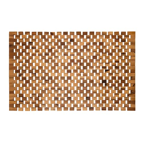 PANA eco Badematte Holz • Fußmatte 100% Akazienholz • Badvorleger Holz rutschfest • Holzmatte aus Echtholz • Größe: 50 x 80 cm