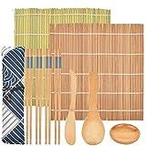FOROREH Sushi Mat Set, Sushi Mat Bamboo Sushi para principiantes, DIY Bamboo Roll Mat Sushi Making, 2 Roll Mat, 5 pares de palillos, 1 almohadilla de arroz, 1 distribuidor de arroz, 1 plato de sushi