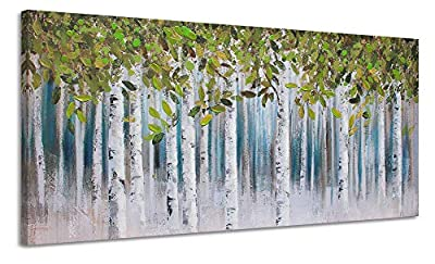 Large Green White Birch Painting Wall Art Decor for Living Room Green Tree Forest Canvas Picture Decoration Modern Abstract Hand Painted Artwork Hang in Bedroom Office Home 30x60 by
