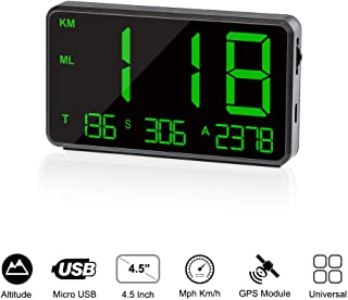 TIMPROVE Universal Digital Car HUD Head Up Display GPS Speedometer with Over Speed Alarm Tired Driving Warning Windshield Project for All Vehicle Bicycle Motorcycle