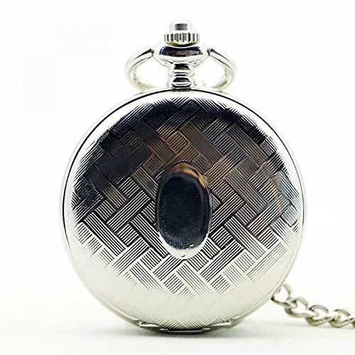 WMYATING Reloj de bolsillo mecánico con diseño exquisito, hermoso, elegante y único, de plata con cuerda de mano, reloj de bolsillo, cadena de almeja, esqueleto de engranajes de regalo
