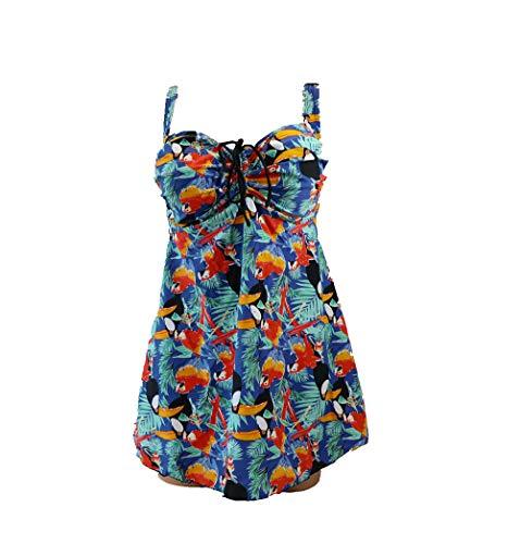 SOL Y PLAYA - Tankini de 2 piezas top tankini y pantalón corto tallas grandes embarazadas mujer señora verano piscina (60, Tucán)