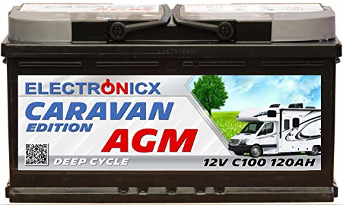 Electronicx Caravan Edition-2 Batterie AGM 120 AH 12V Wohnmobil Boot Versorgung
