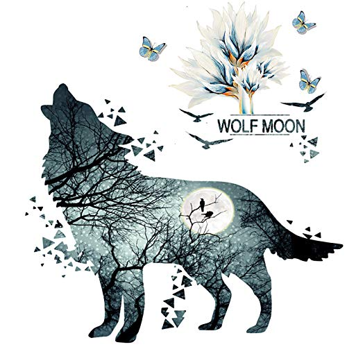 AMODA Wolf and Flower Wall Deccor,Removable TV Background Sofa Backdrop Flower Wolf Wall Stickers,Self-Adhesive Stick&Peel Wall Art Mural Decals for Teen Boys Girls Bedroom Nursery(Flower Wolfs Decor)