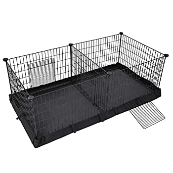 SONGMICS Guinea Pig Playpen Small Animal Cage Exercise Pen and Enclosure with Divider Panel for 2 Separate Spaces Floor Mat and 3 Doors 48.4 x 24.8 x 18.1 Inches Black ULPI07H