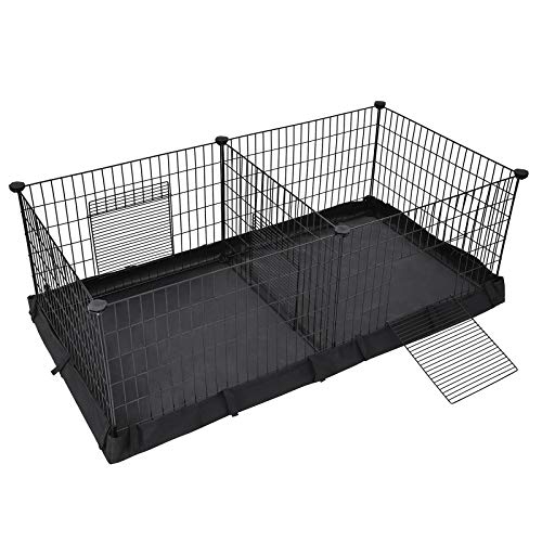 SONGMICS Guinea Pig Playpen, Small Animal Cage, Exercise Pen and Enclosure with Divider Panel for 2 Separate Spaces, Floor Mat and 3 Doors, 48.4 x 24.8 x 18.1 Inches, Black ULPI07H