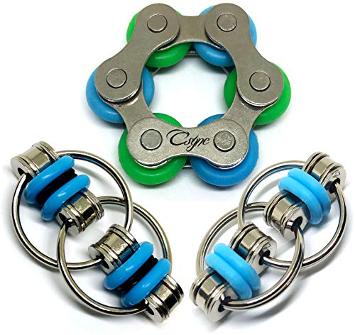 Fidget Toys Flippy Roller Chain - Stress Relief Perfect for ADHD, ADD, Anxiety in Classroom, Office, School, Work for Students, Kids Stocking Stuffers Gifts for Children or Adults (3 Piece) (Blue)