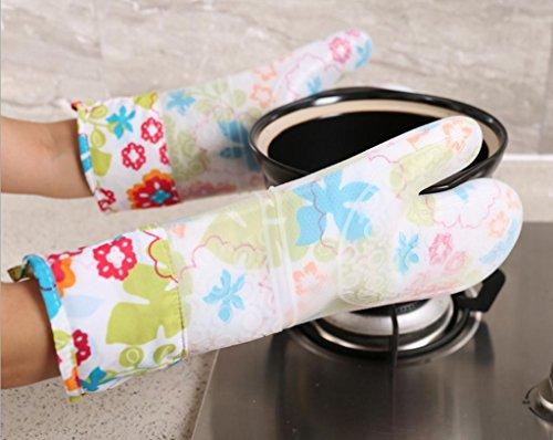 Dbtxwd Haute température Anti-hot silice gel Plus bicarbonate gants épais double couche isolation micro-ondes four gants allongé cuisine gants de coton