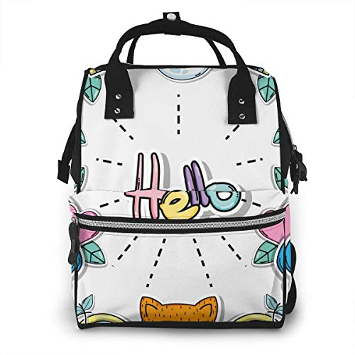 UUwant Sac à Dos à Couches pour Maman Large Capacity Diaper Backpack Travel Manager Baby Care Replacement Bag Nappy Bags Mummy Backpack,(Hello Card with Cute Cartoons